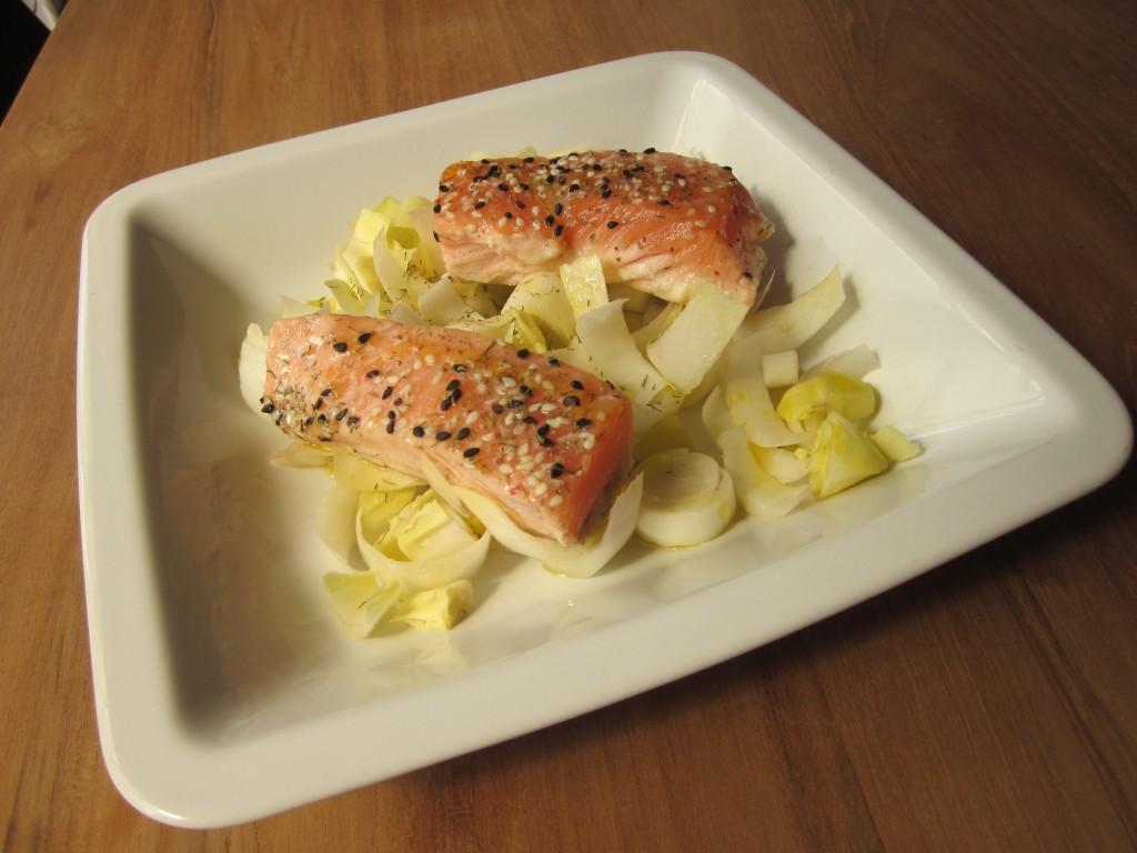 Saumon cru et cuit, orange et endive dans entrées IMG_3433-1024x768